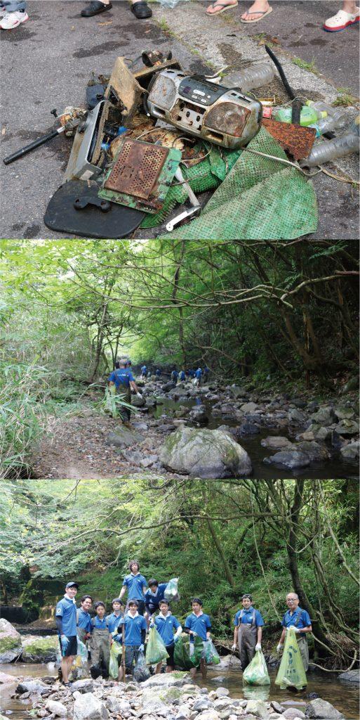 オオサンショウウオ生息地の河川清掃